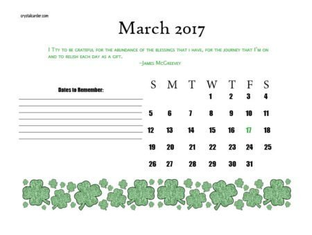 March Calendar St. Patrick's Day