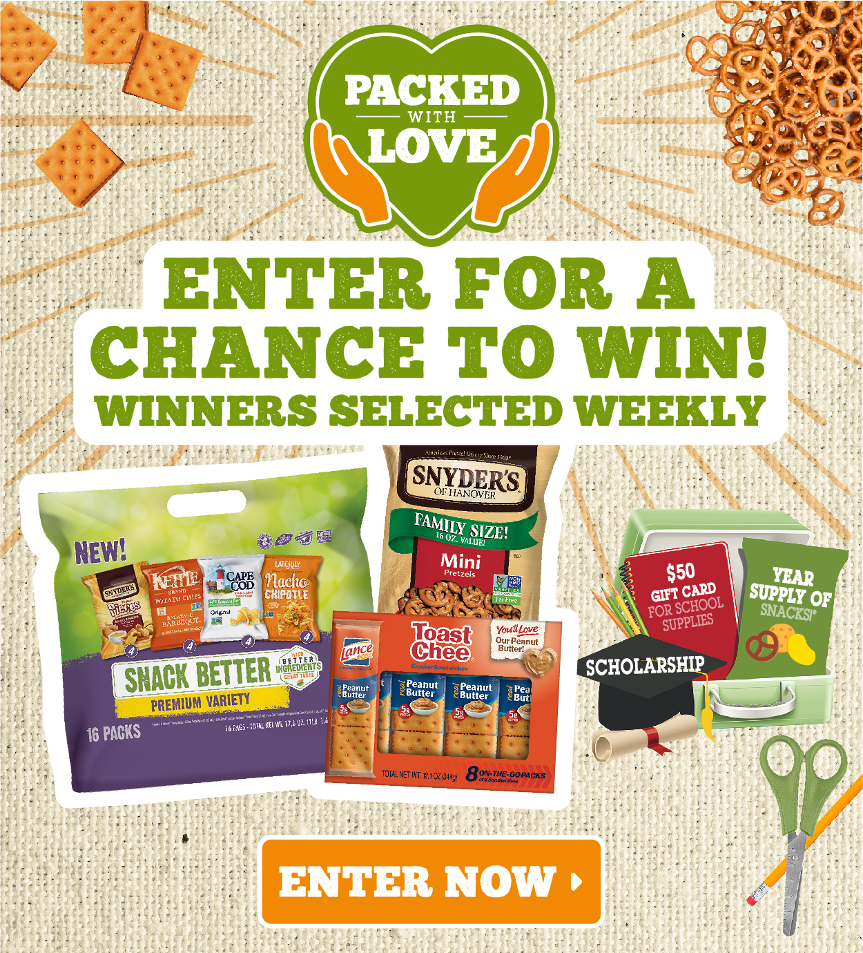 Enter the Snyder's Pack With Love Sweepstakes