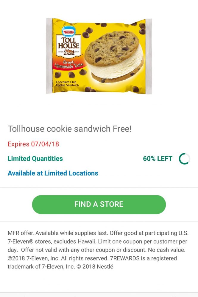 Free Nestle Tollhouse Cookie Sandwich at 7-Eleven