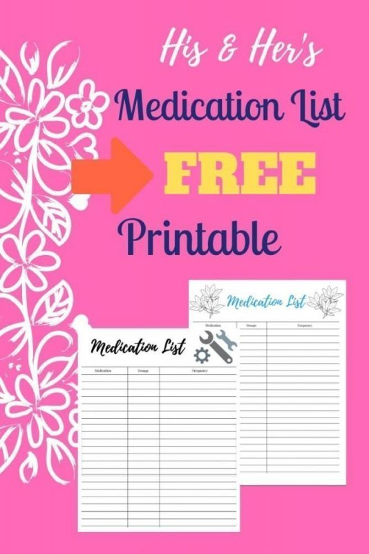 His and Her's Medication List for Caregivers, Free Printable