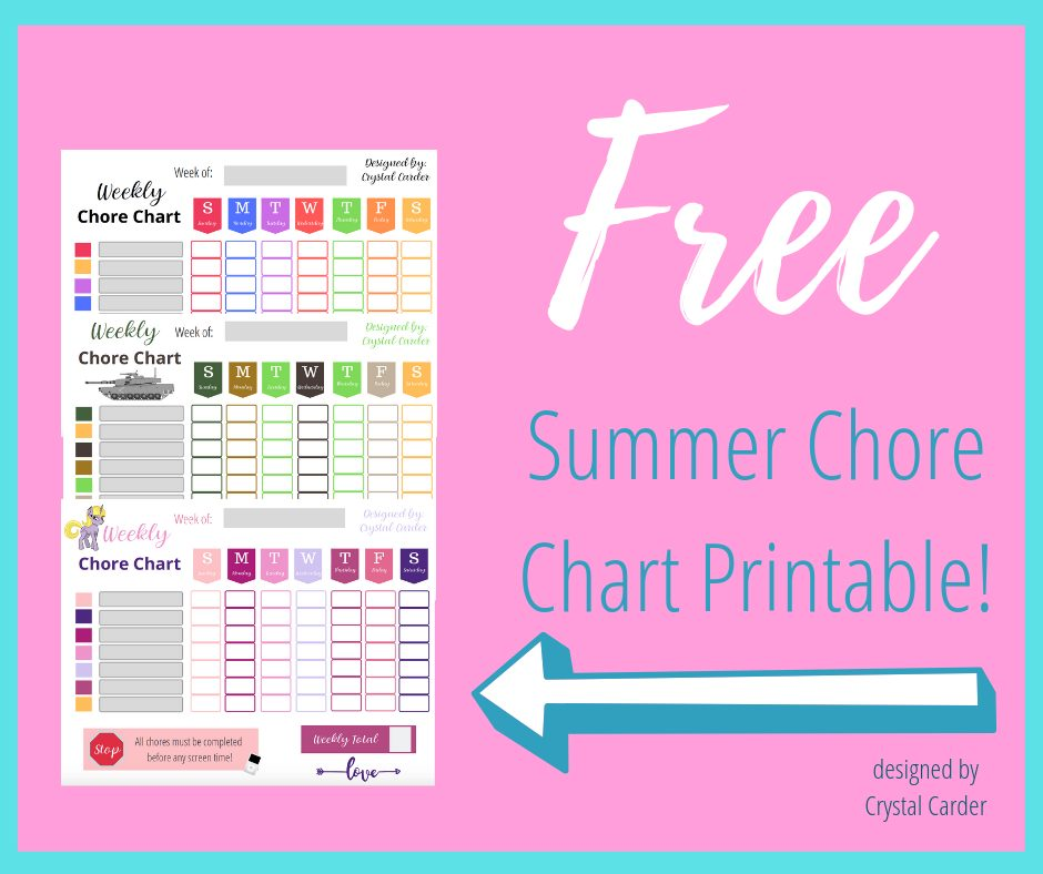 image regarding Chore Chart Printable Free named 3 Cost-free Summer time Chore Chart Downloadable Printables for Young children